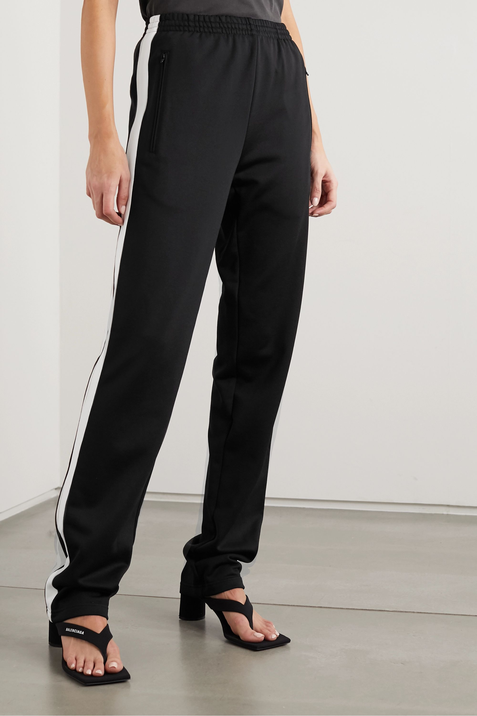 Balenciaga Striped embroidered tech-jersey track pants