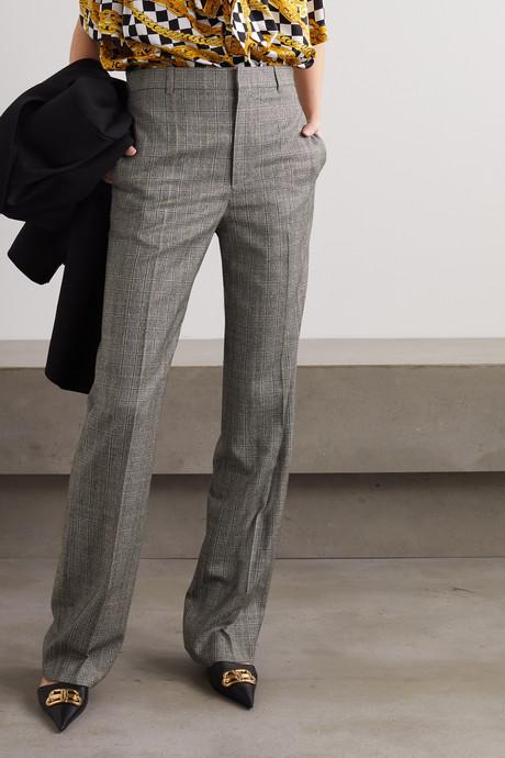 Prince of Wales checked wool straight-leg pants