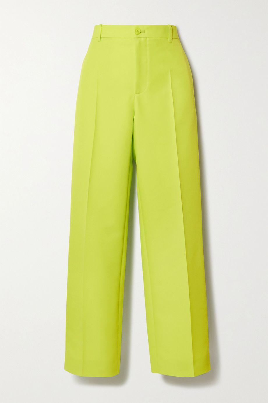 Balenciaga Neonfarbene Hose aus Twill mit geradem Bein