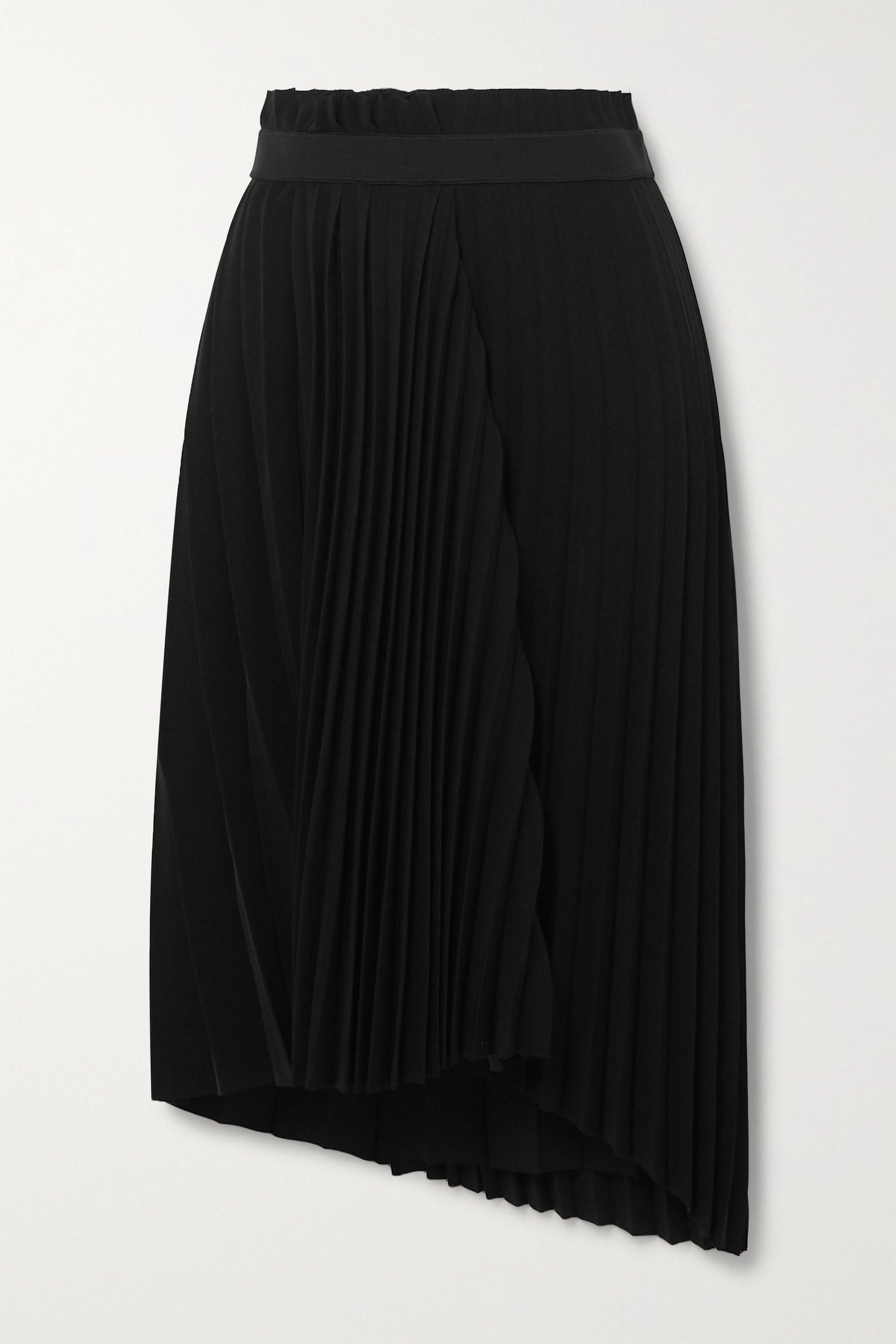 Balenciaga Asymmetric pleated crepe midi skirt