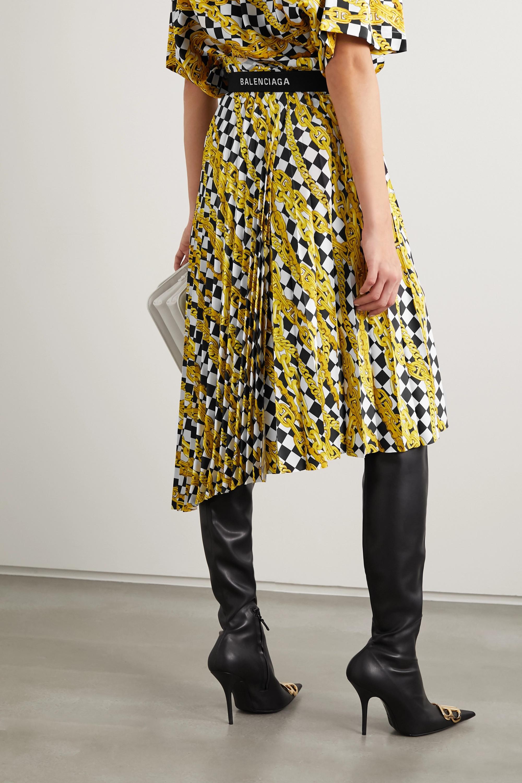 Balenciaga Asymmetric pleated printed satin-crepe skirt