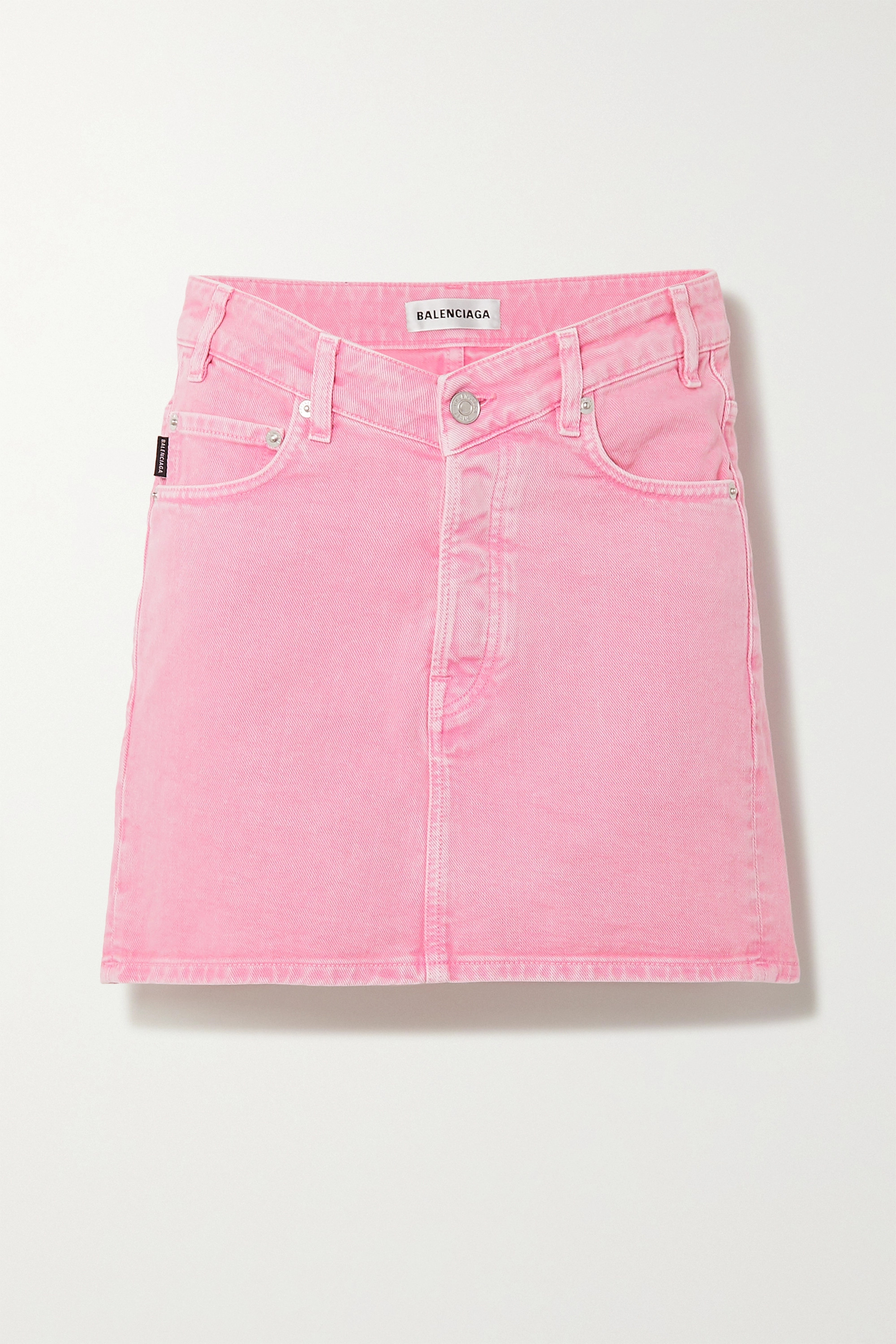 Balenciaga Acid-wash denim mini skirt
