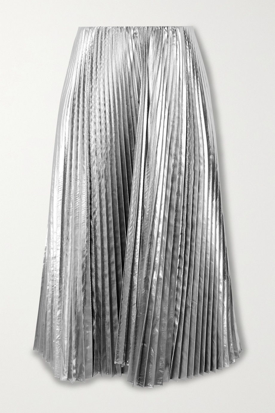 Balenciaga Pleated lamé midi skirt