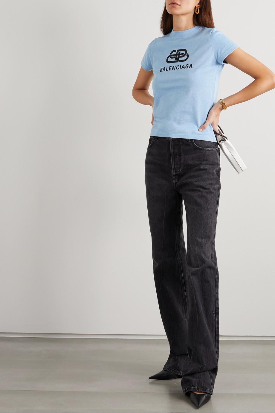 Balenciaga Cropped printed cotton-jersey T-shirt