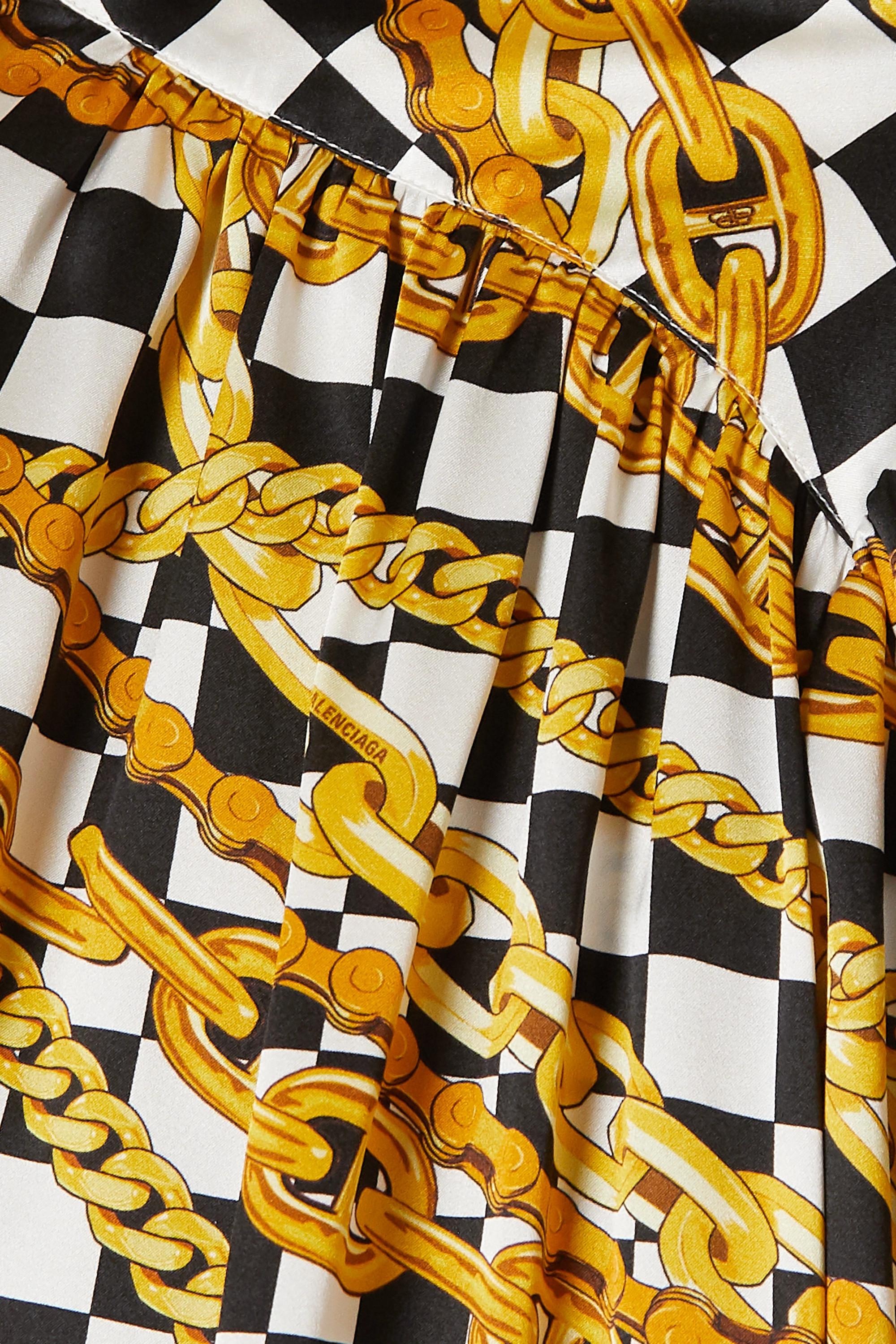 Balenciaga Bedruckte Bluse aus Seidensatin