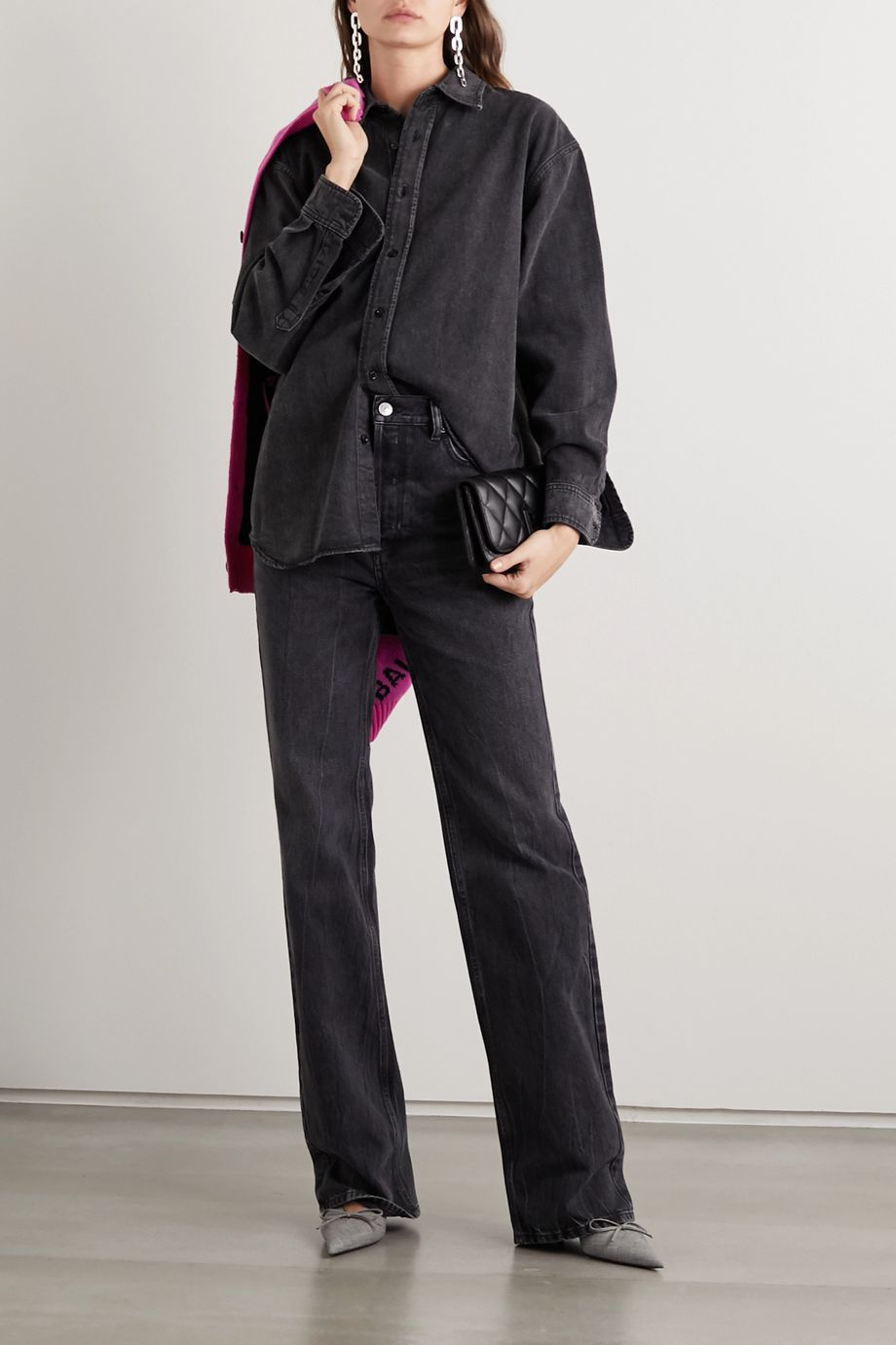 Balenciaga Embroidered denim shirt