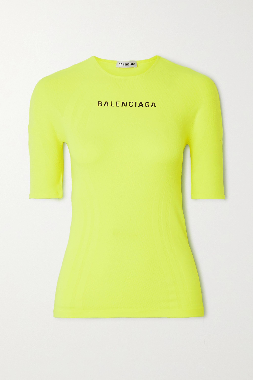 Balenciaga Printed neon stretch-jersey T-shirt
