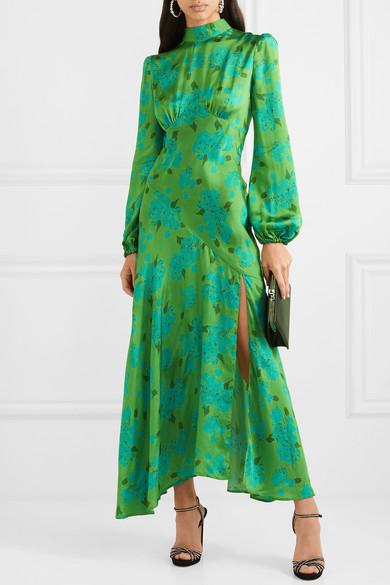Clara Floral Print Satin Midi Dress by De La Vali