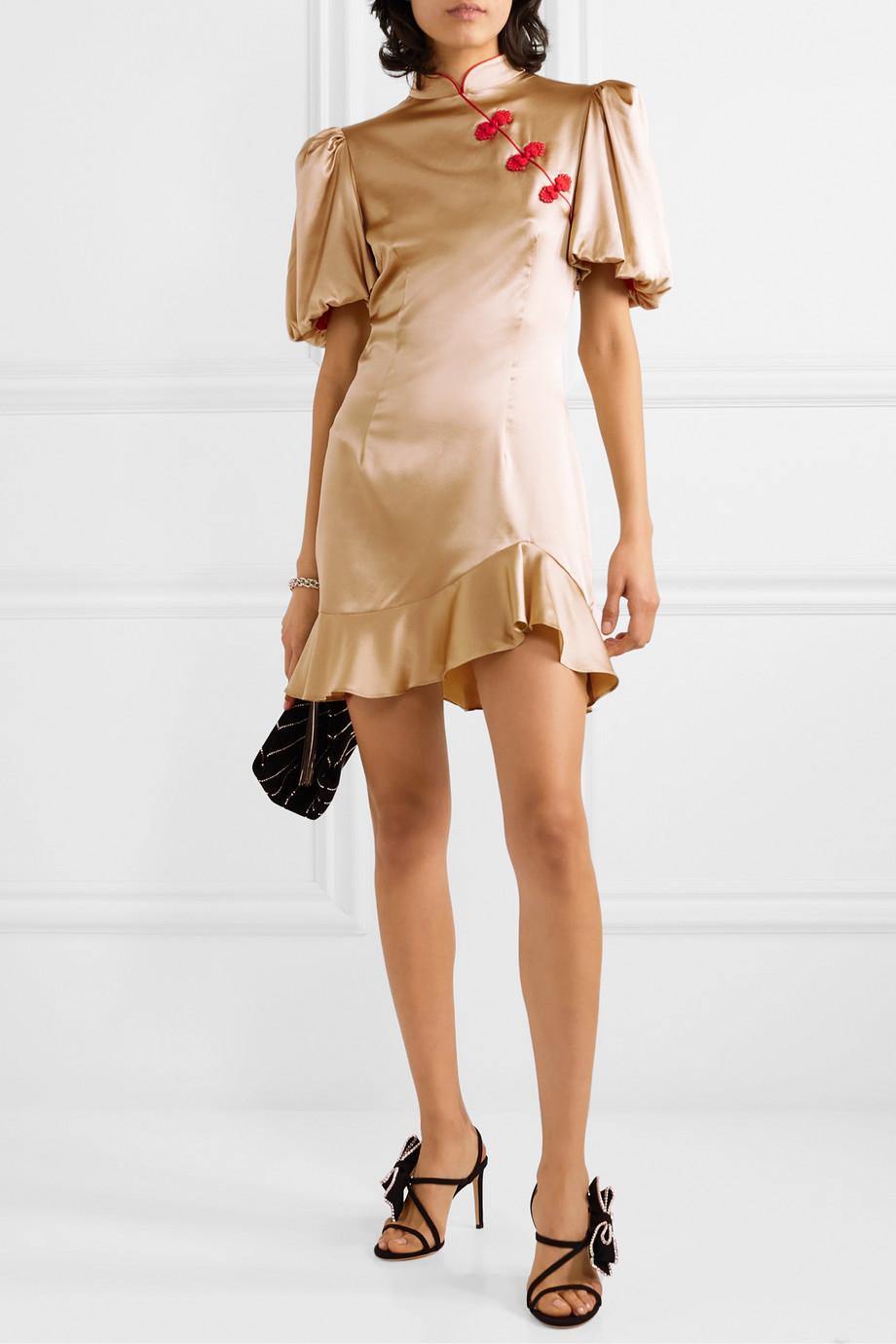 De La Vali Bluebell appliquéd ruffled satin-twill mini dress