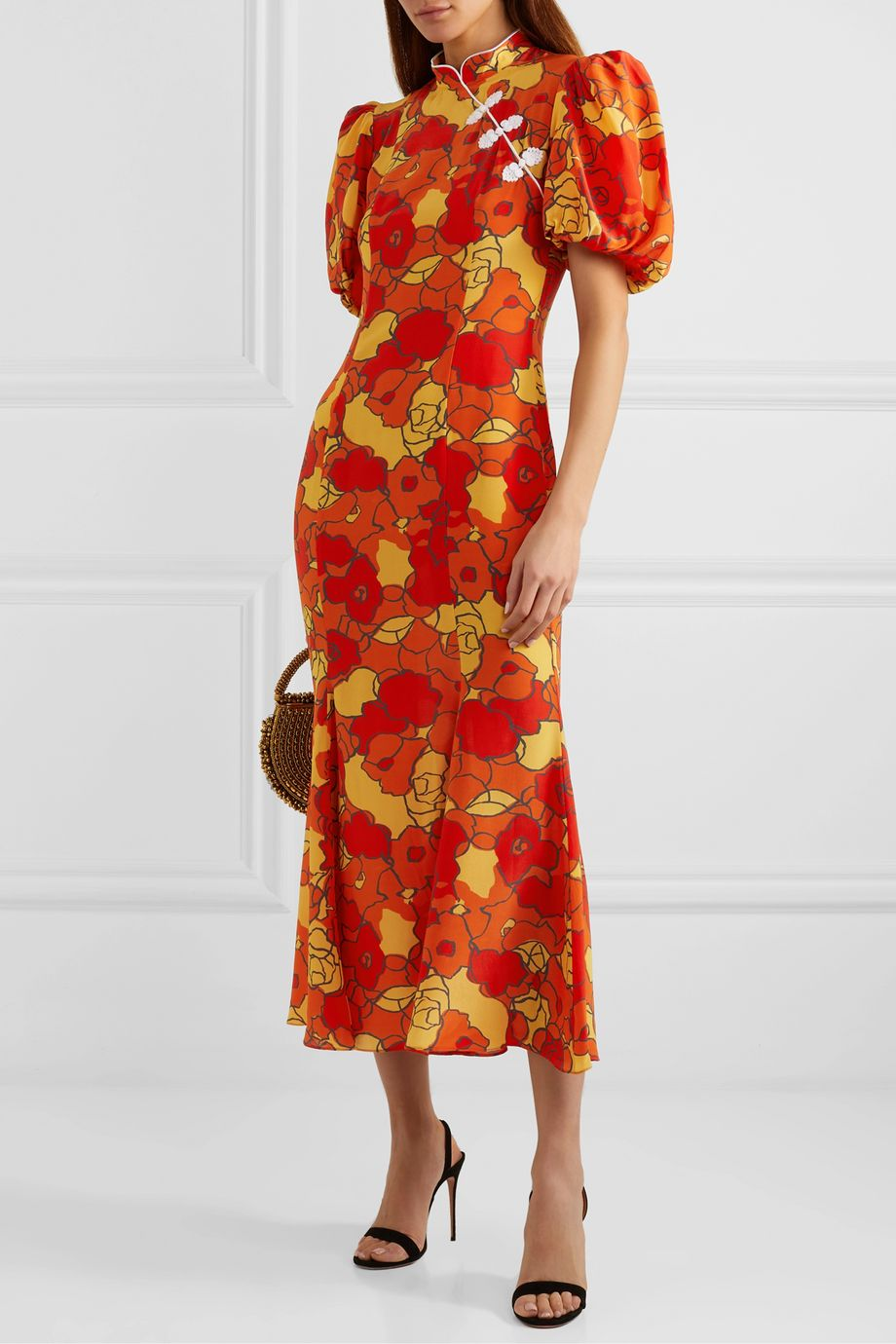 De La Vali Bluebell appliquéd floral-print silk-georgette midi dress