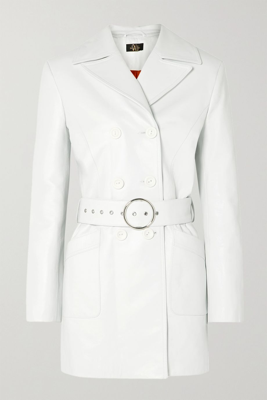 De La Vali Twiggy belted double-breasted leather coat
