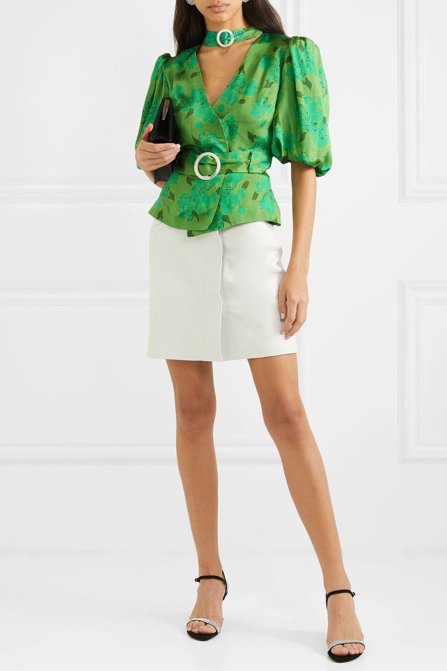 De La Vali Mila belted floral-print satin blouse
