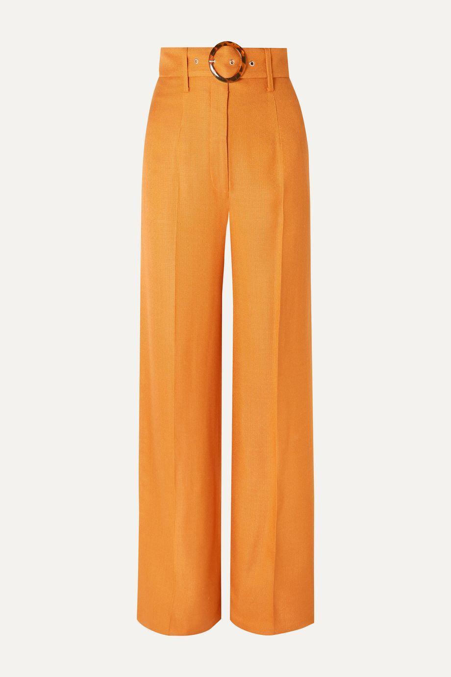 De La Vali Lily belted woven wide-leg pants
