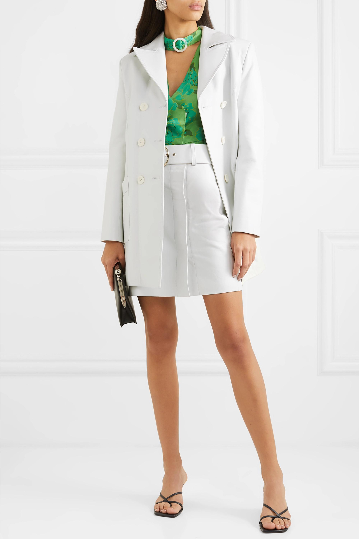 De La Vali Sara belted leather mini skirt