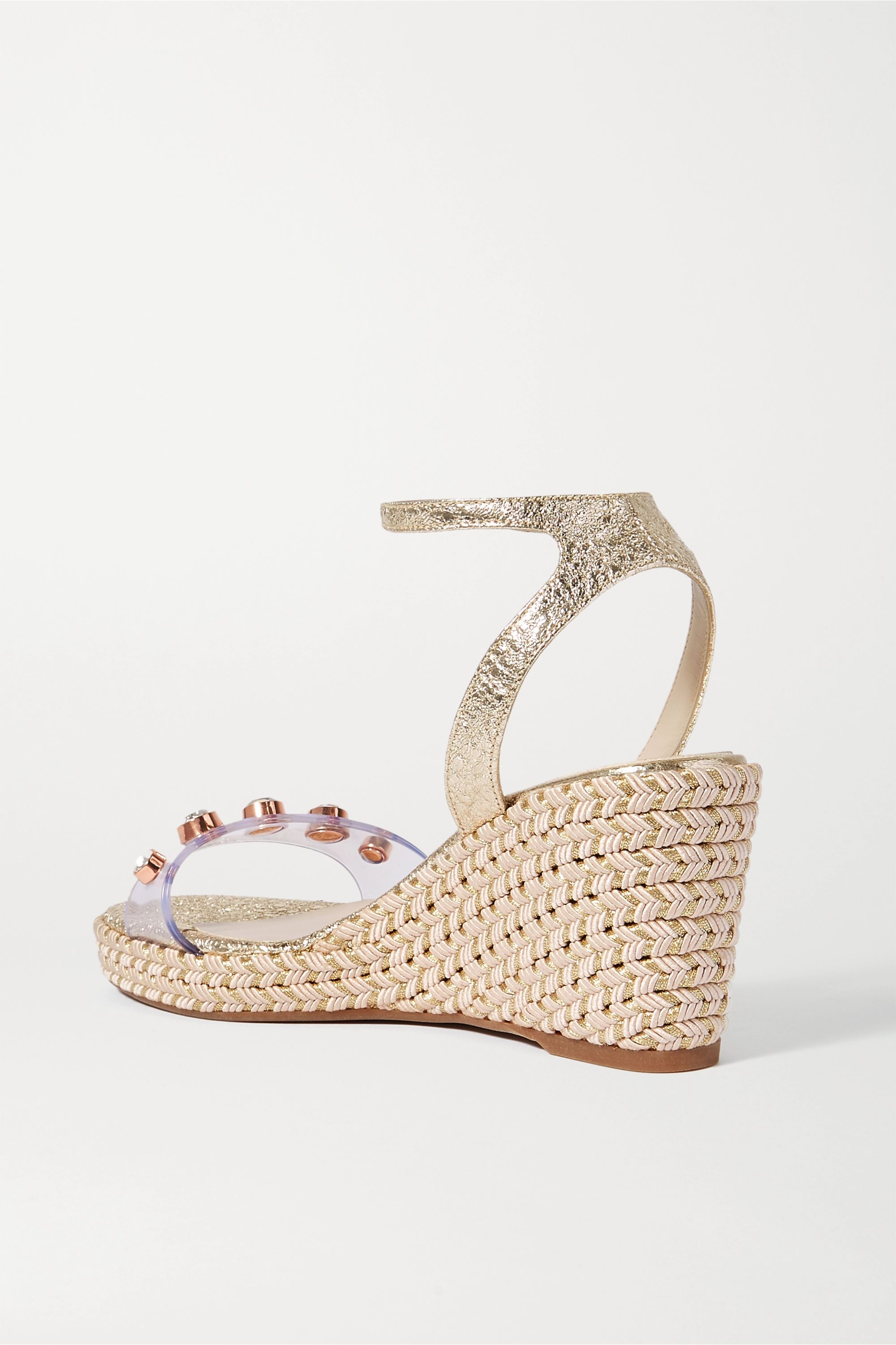 Sophia Webster Dina embellished metallic textured-leather and PVC wedge sandals