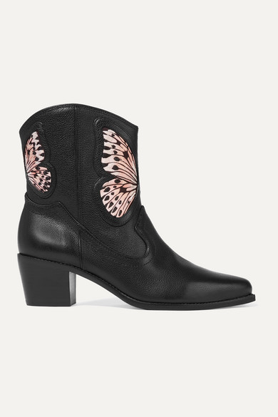 Sophia Webster Shelby Embroidered Satin-Paneled Textured-Leather Ankle Boots In Black