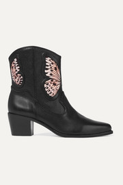 Shelby embroidered satin-paneled textured-leather ankle boots