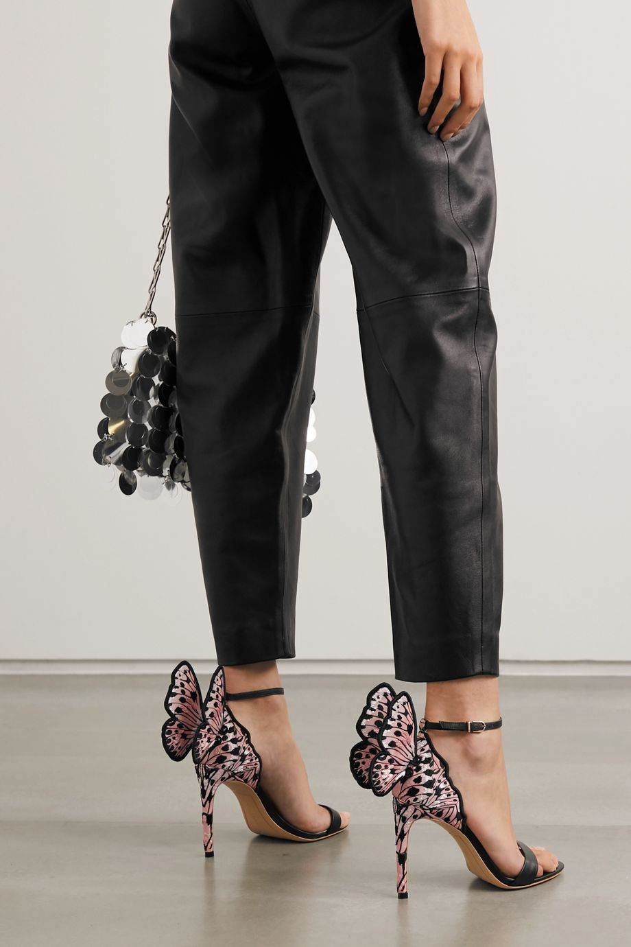 Sophia Webster Chiara embroidered satin and leather sandals
