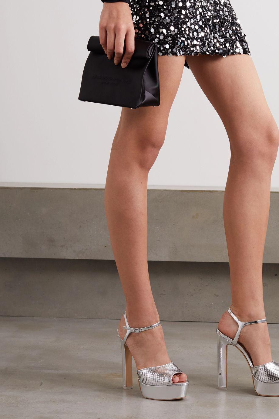 Sophia Webster Natalia metallic snake-effect leather platform sandals