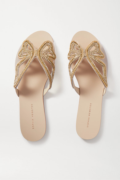 Sophia Webster Madame Butterfly Embellished Leather And Pvc Slides In Gold