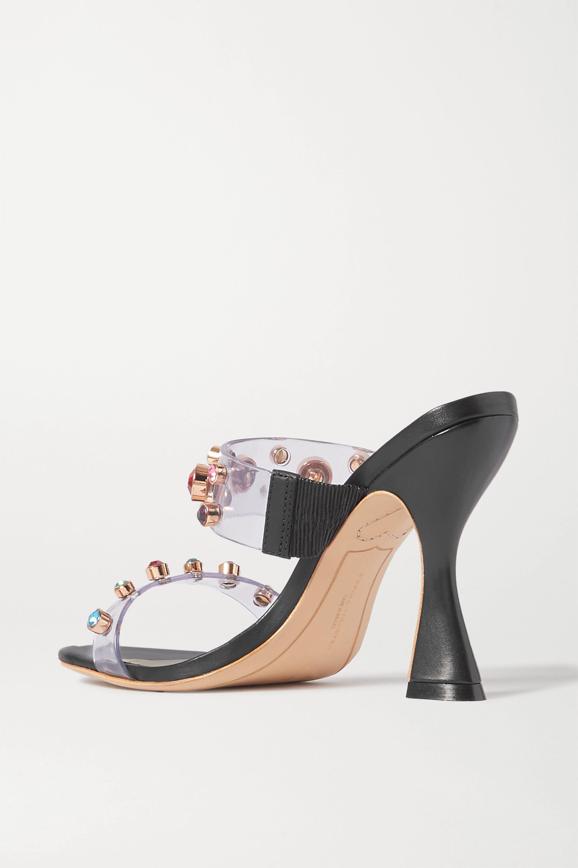 Sophia Webster Dina crystal-embellished vinyl and leather mules