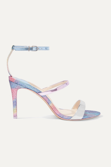Sophia Webster Rosalind Glittered Mirrored-leather Sandals In Blue