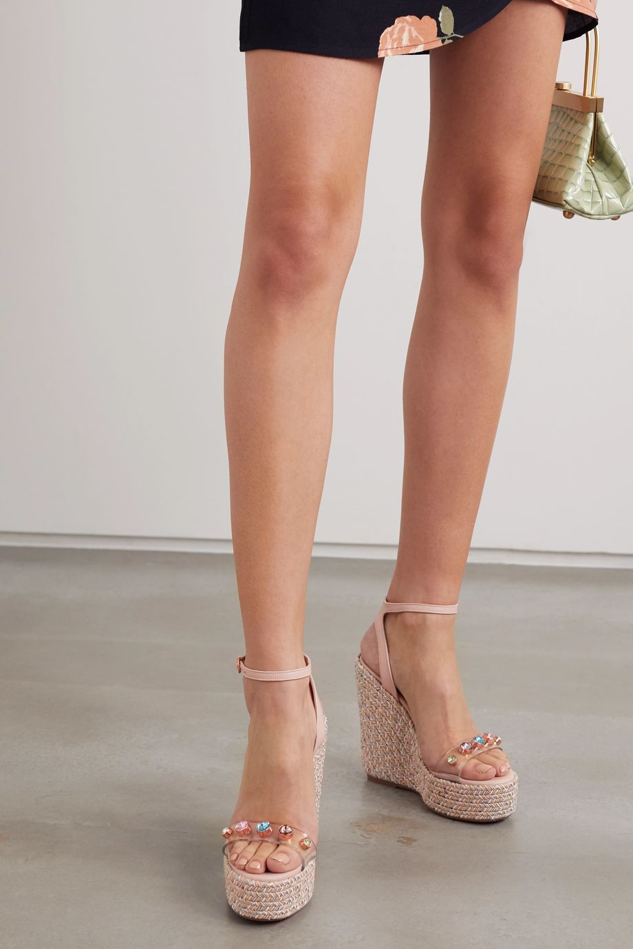 Sophia Webster Dina leather and crystal-embellished PVC espadrille wedge sandals