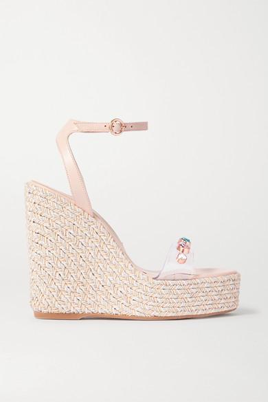 Sophia Webster Dina Leather And Crystal-embellished Pvc Espadrille Wedge Sandals In Neutral