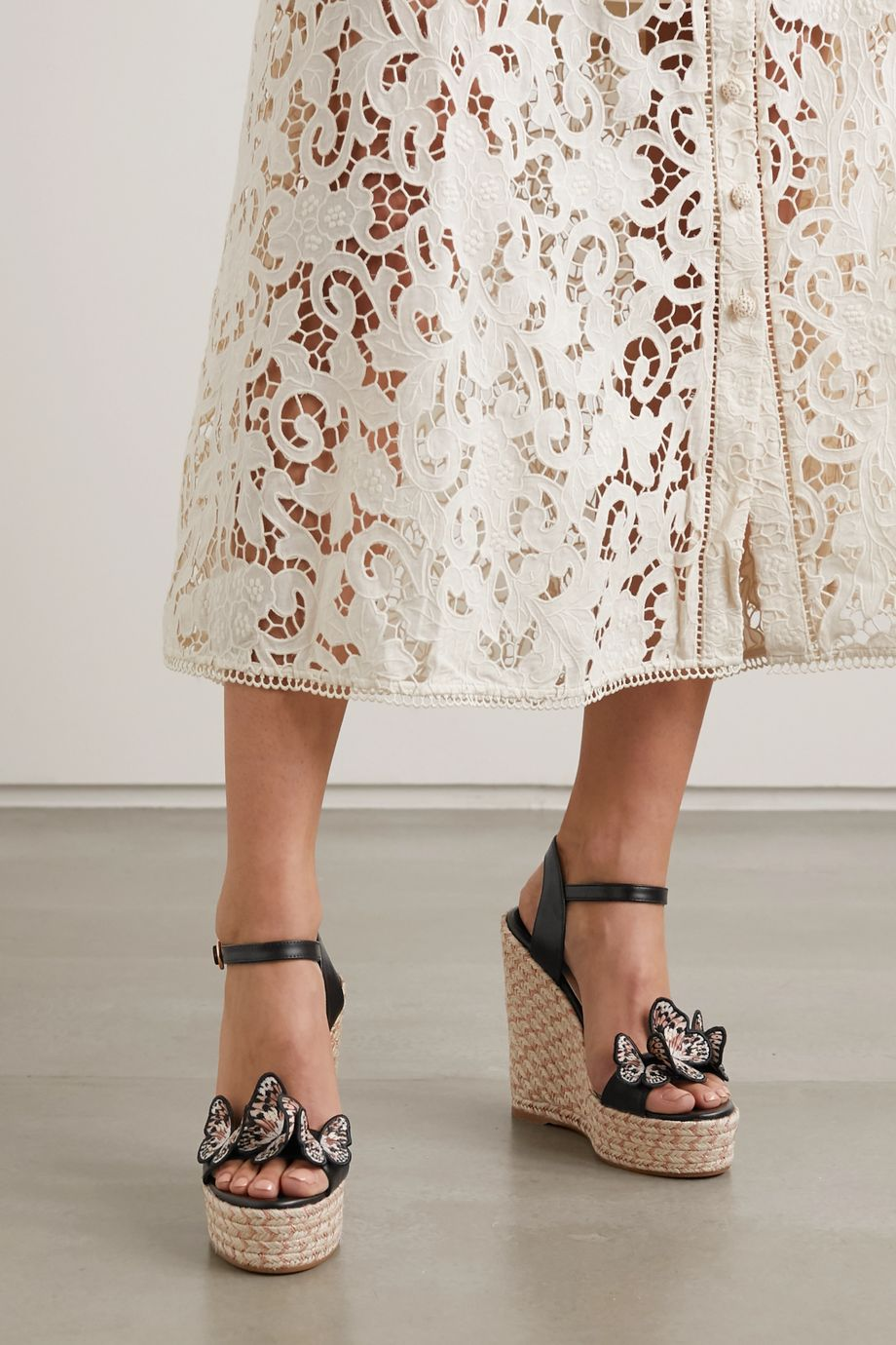 Sophia Webster Riva appliquéd leather espadrille wedge sandals