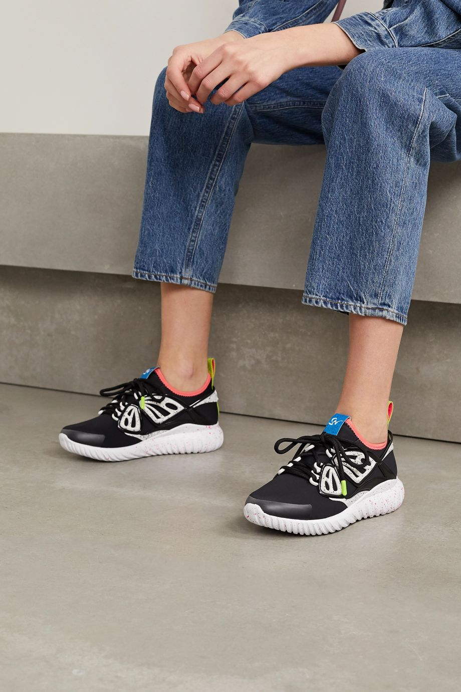 Sophia Webster Fly-By rubber and leather-trimmed neoprene sneakers