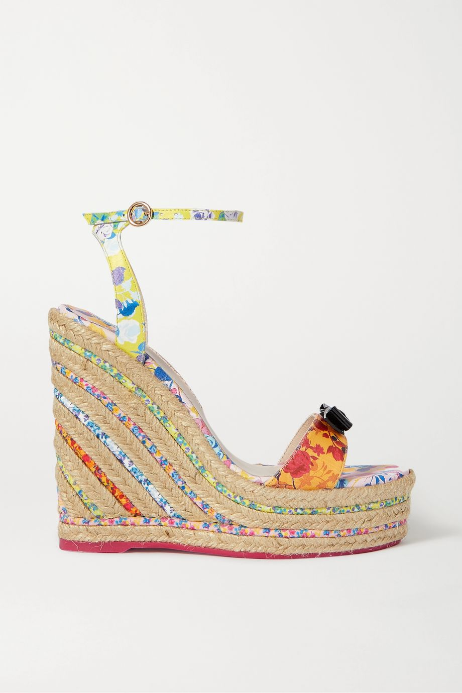 Sophia Webster Laurellie bow-embellished floral-print leather espadrille wedge sandals