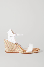 Cassia embroidered leather wedge espadrilles