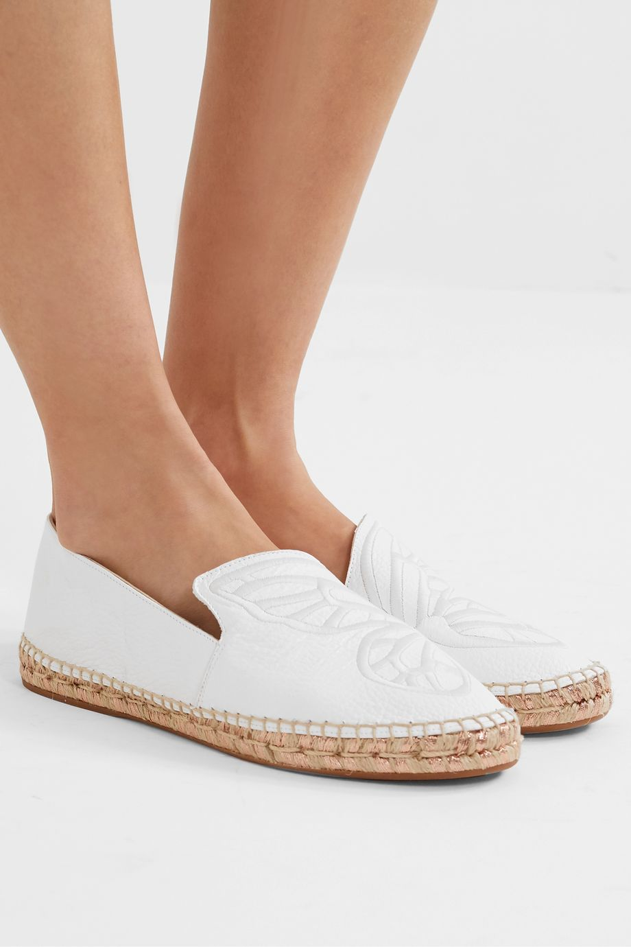 Sophia Webster Butterfly embroidered textured-leather espadrilles