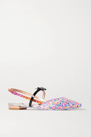 Laurellie floral-print satin and patent-leather slingback point-toe flats