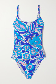 Emilio Pucci Samoa sequin-embellished belted floral-print swimsuit