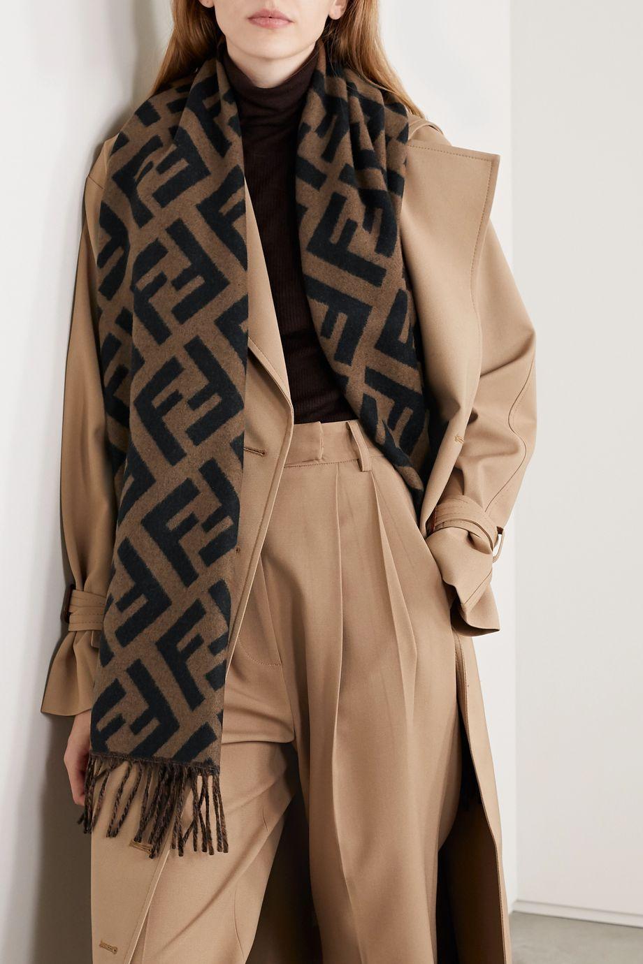 Fendi Fringed logo-jacquard cashmere scarf