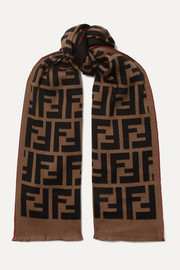 Intarsia wool and silk-blend scarf