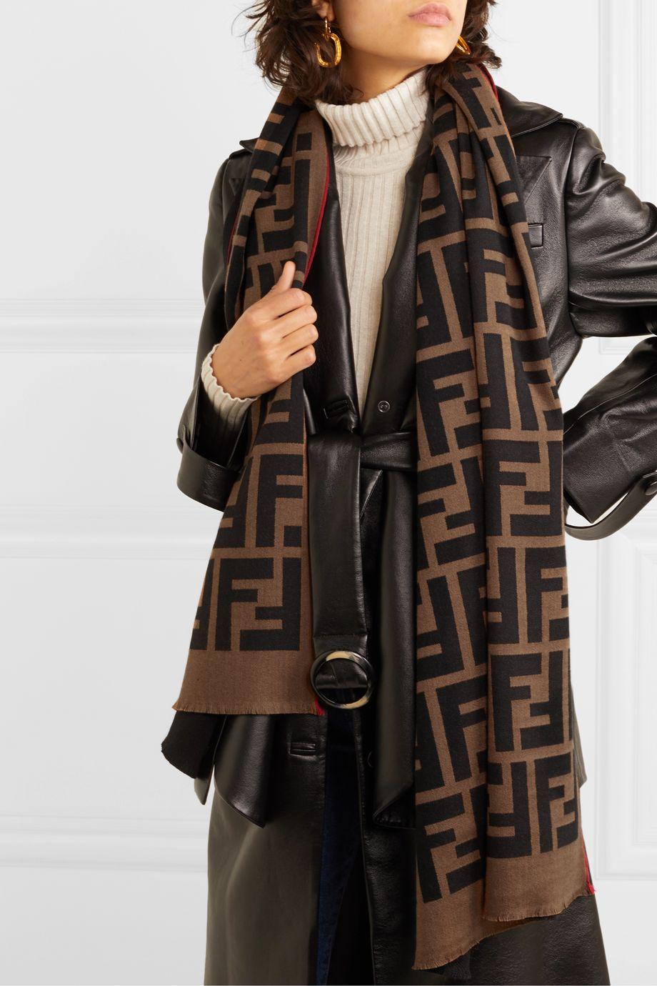 Fendi Intarsia wool and silk-blend scarf