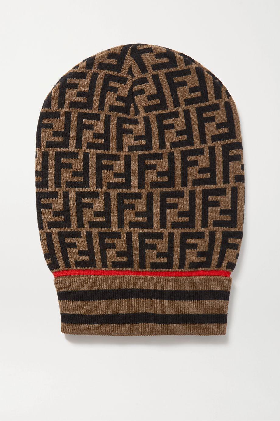 Fendi Intarsia cashmere and wool-blend beanie