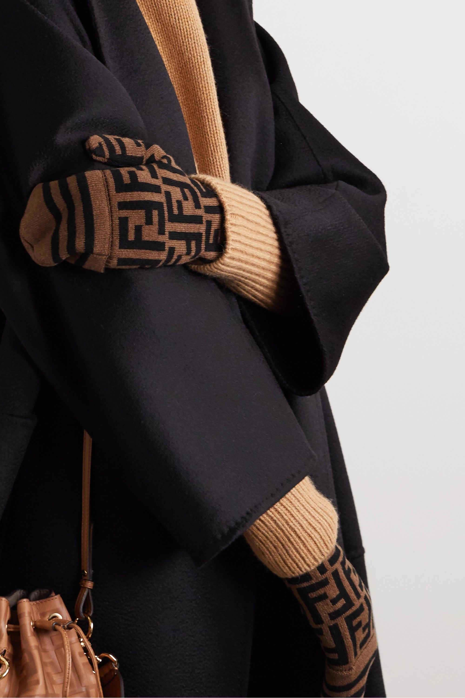 Fendi Intarsia cashmere and wool-blend mittens