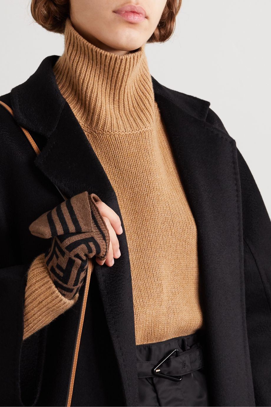 Fendi Intarsia cashmere and wool-blend mittens