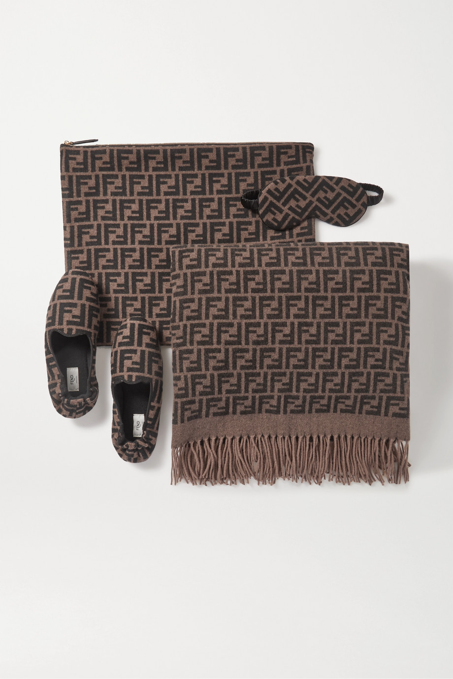 Fendi Cashmere and silk-blend jacquard travel set