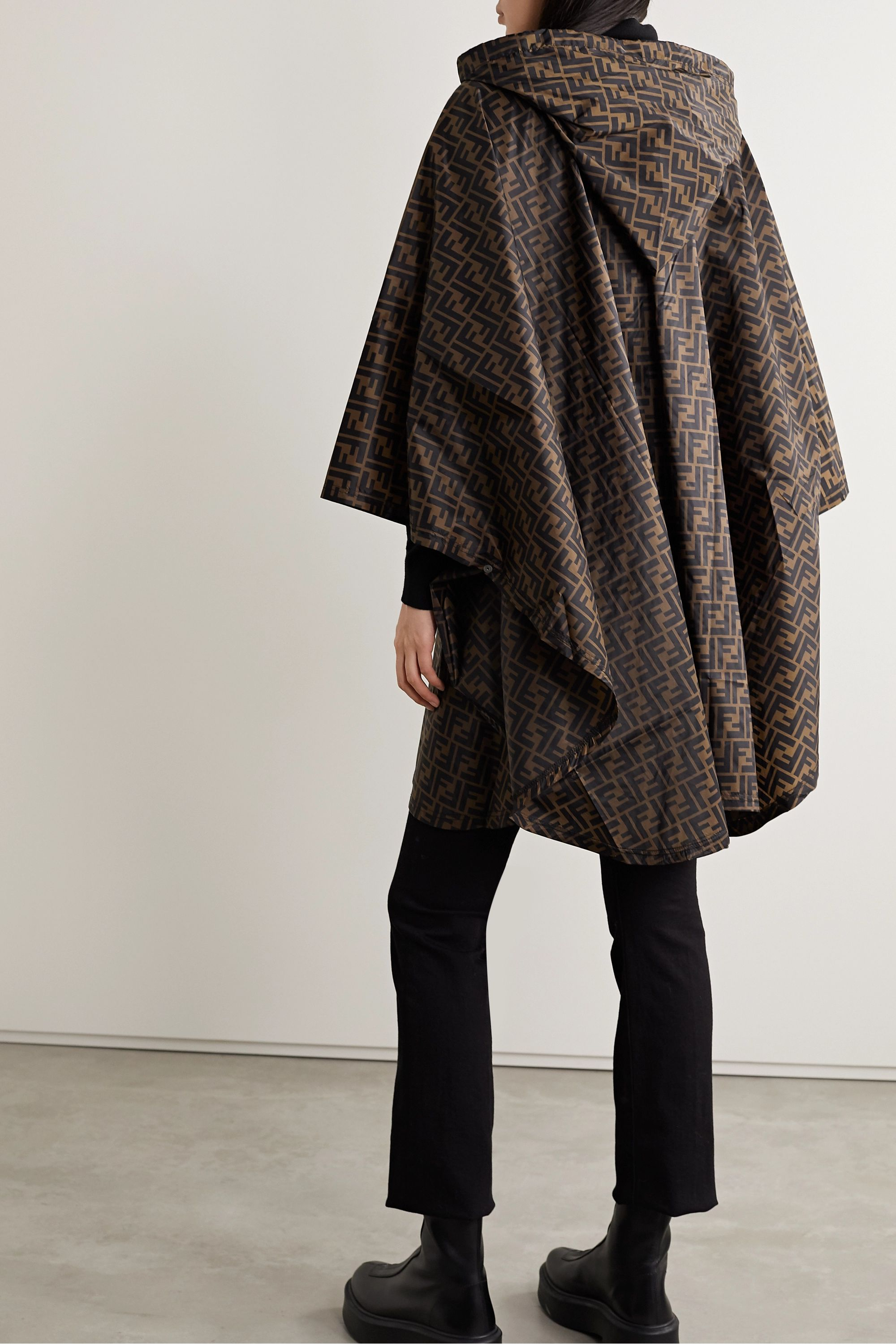 Fendi Hooded printed shell poncho
