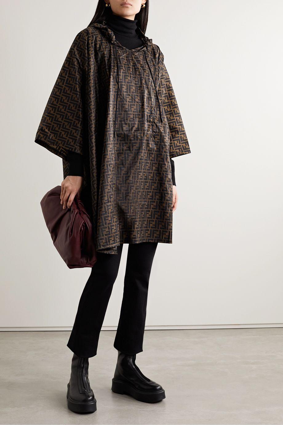 Fendi Hooded printed shell poncho