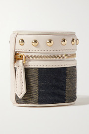 Studded leather and canvas pouch