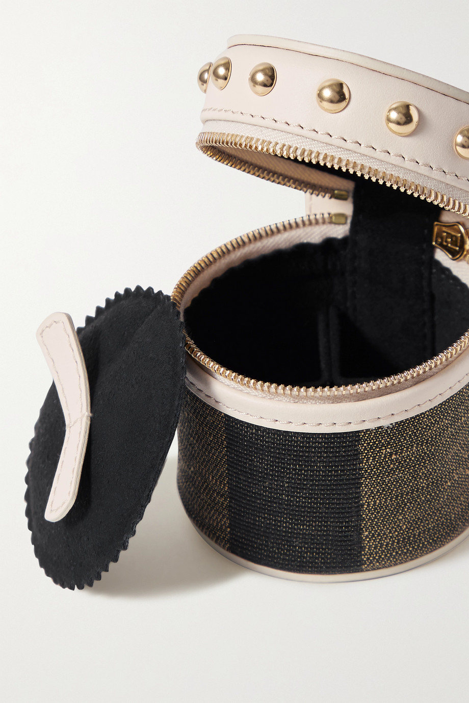 Fendi Studded leather and canvas pouch