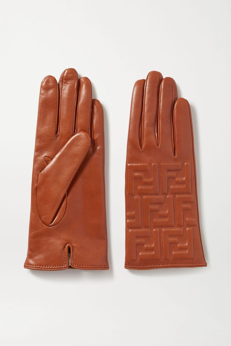 Fendi Embossed leather gloves