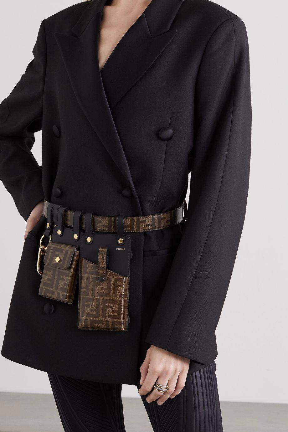 Fendi Printed coated-canvas and leather belt