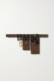 Printed coated-canvas and leather belt