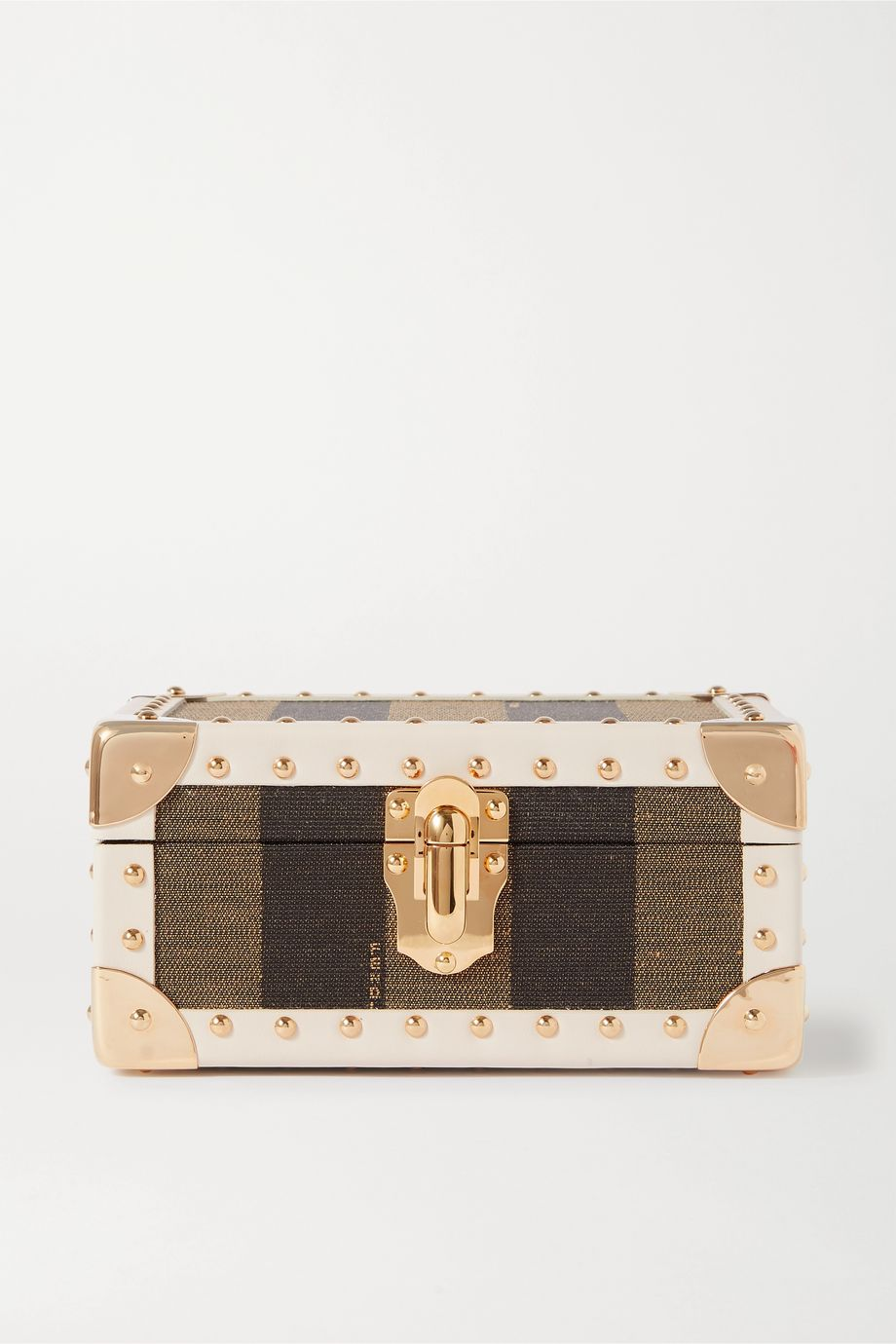 Fendi Studded leather-trimmed striped jacquard jewelry box